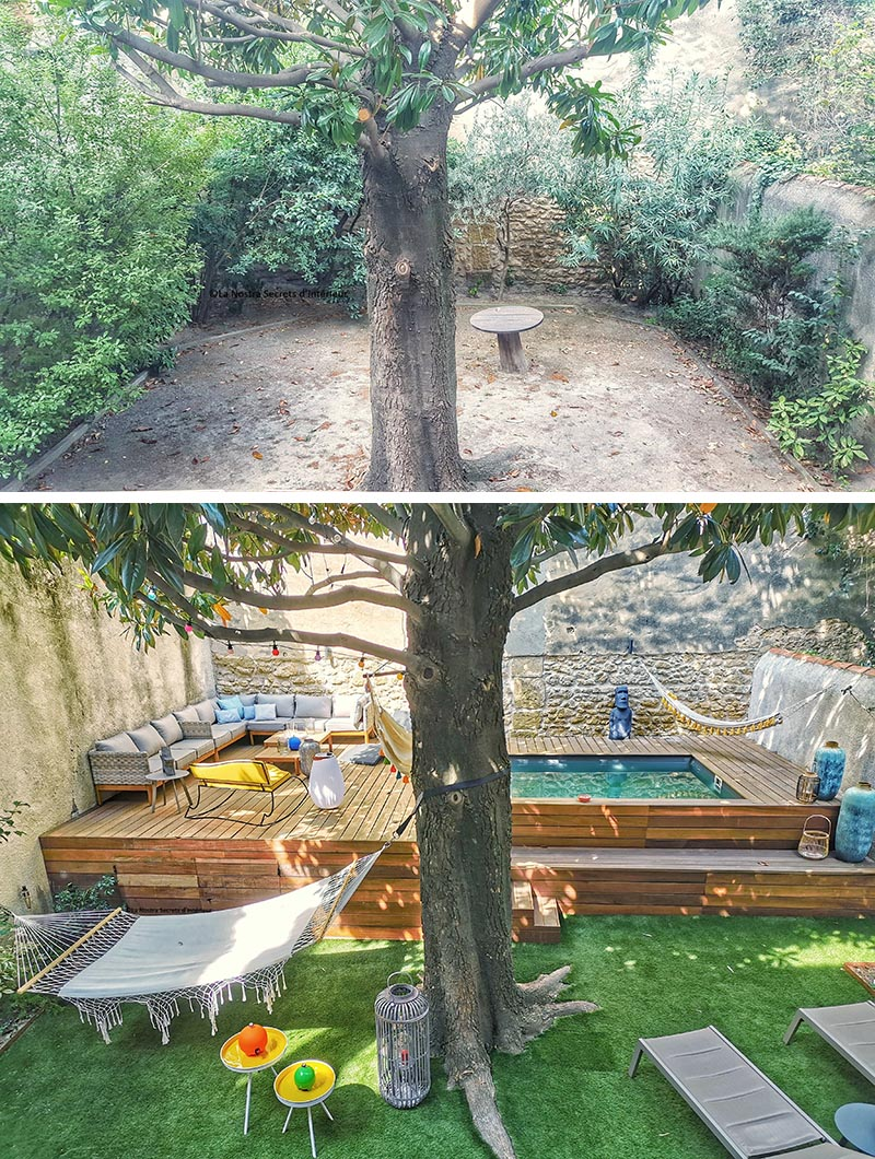 A backyard landscape renovation that includes a raised deck with a small swimming pool.