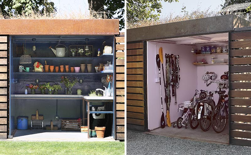 This Custom Designed Backyard Shed Includes A Potting Room On One Side And Bike Storage On The Other
