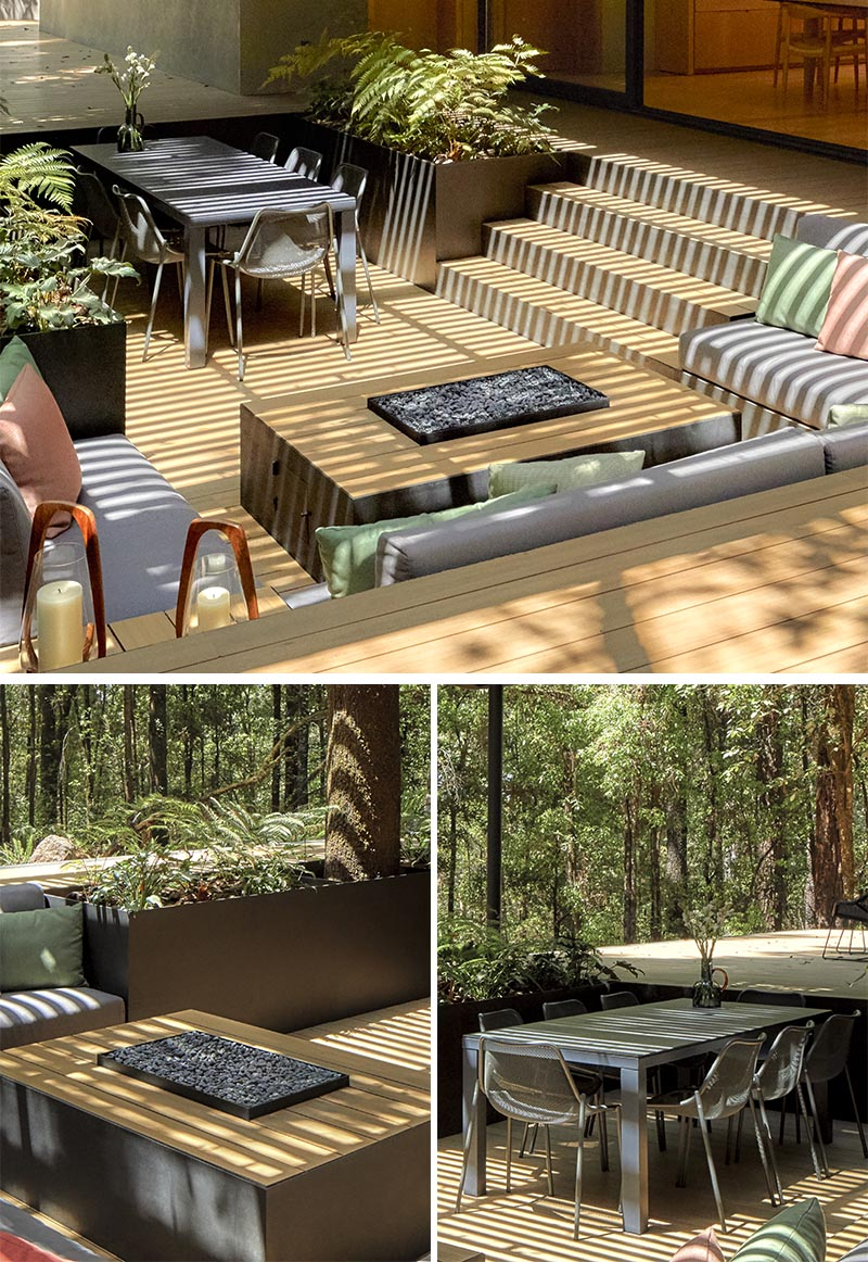 A Covered Outdoor Conversation Pit Makes Room For A Lounge Fire Table Planters And A Dining Area