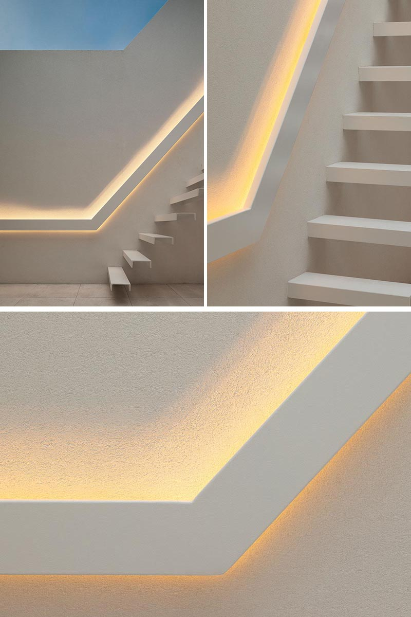 These cantilevered stairs have a matching handrail with hidden lighting.