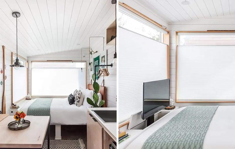 A great idea for including a tv in small space is to hide it within a cabinet, like this tiny house does at the end of the bed.