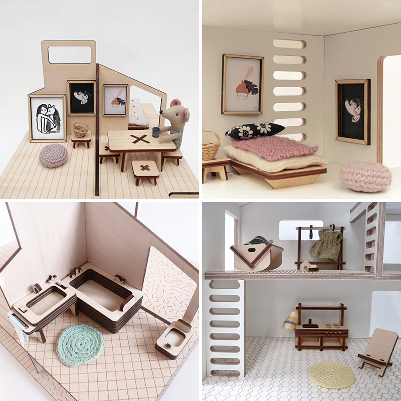 Modern wood dollhouse furniture