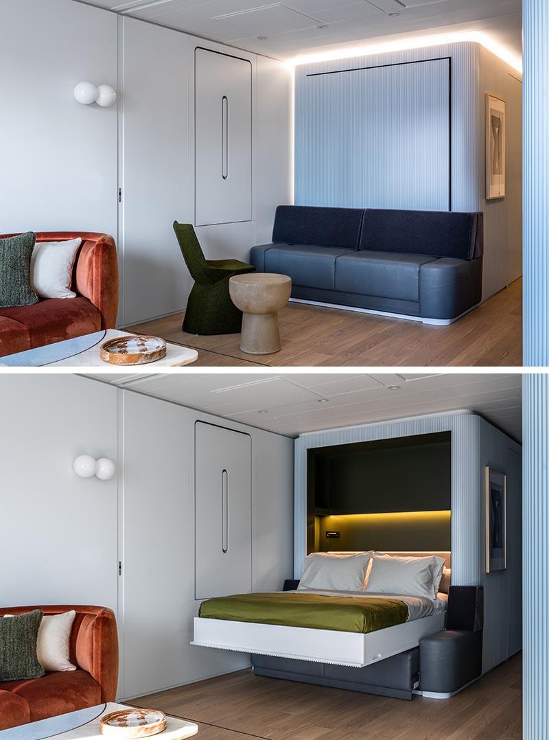 A textured blue wall hides a fold-down murphy bed.