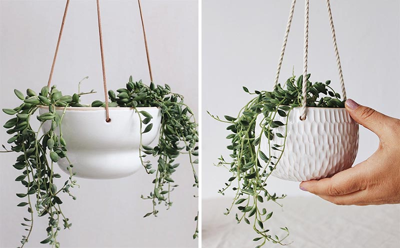 Hanging succulent pots made from ceramic with a smooth or textured finish.