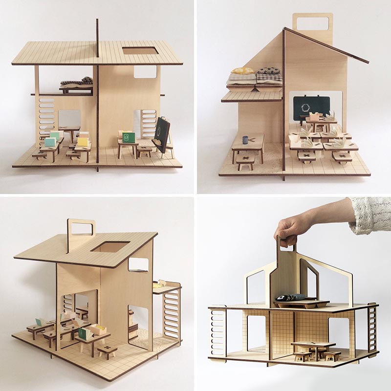 Modern flat packed dollhouse with furniture.
