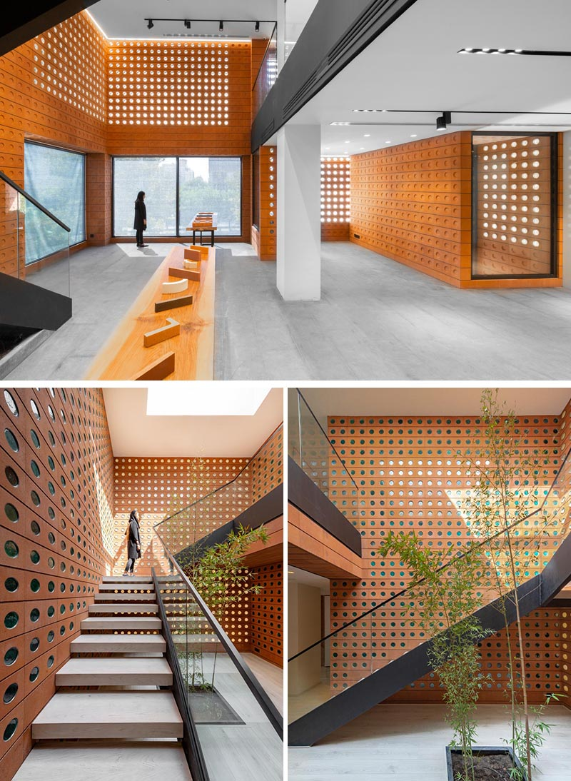 Custom modern bricks with small windows and circular indents were used in the construct of this building's walls.