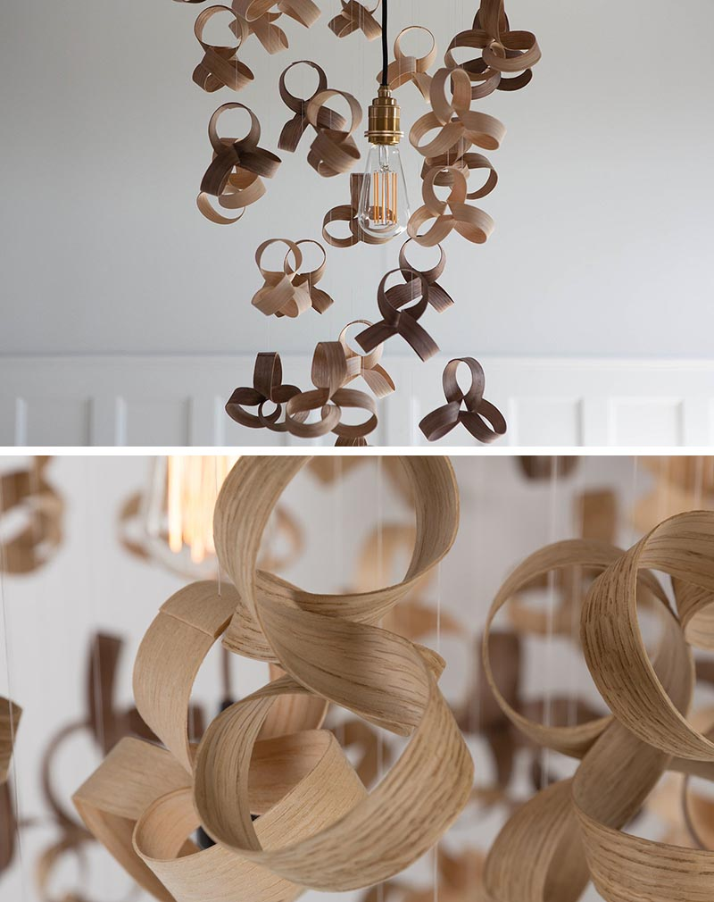 Wood curls have been used to design a sculptural chandelier.