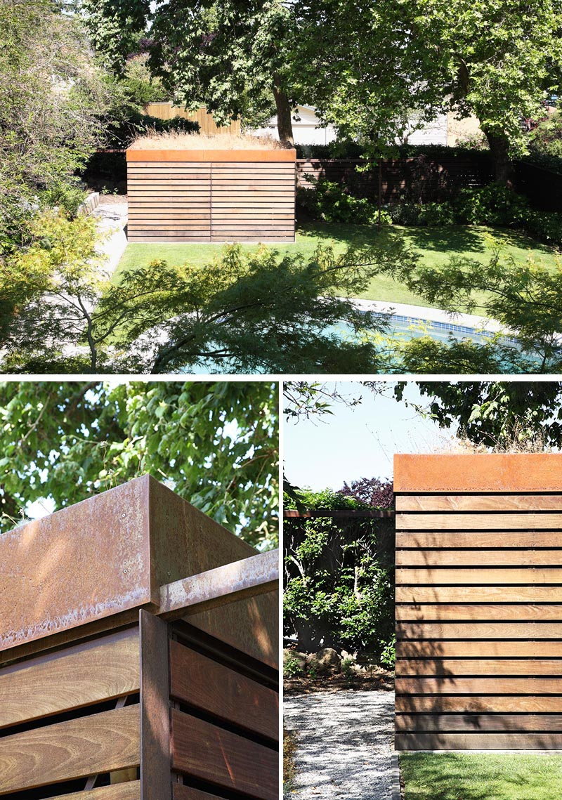 A modern backyard shed with a green roof, that has an exterior of Ipe wood and weathered steel.