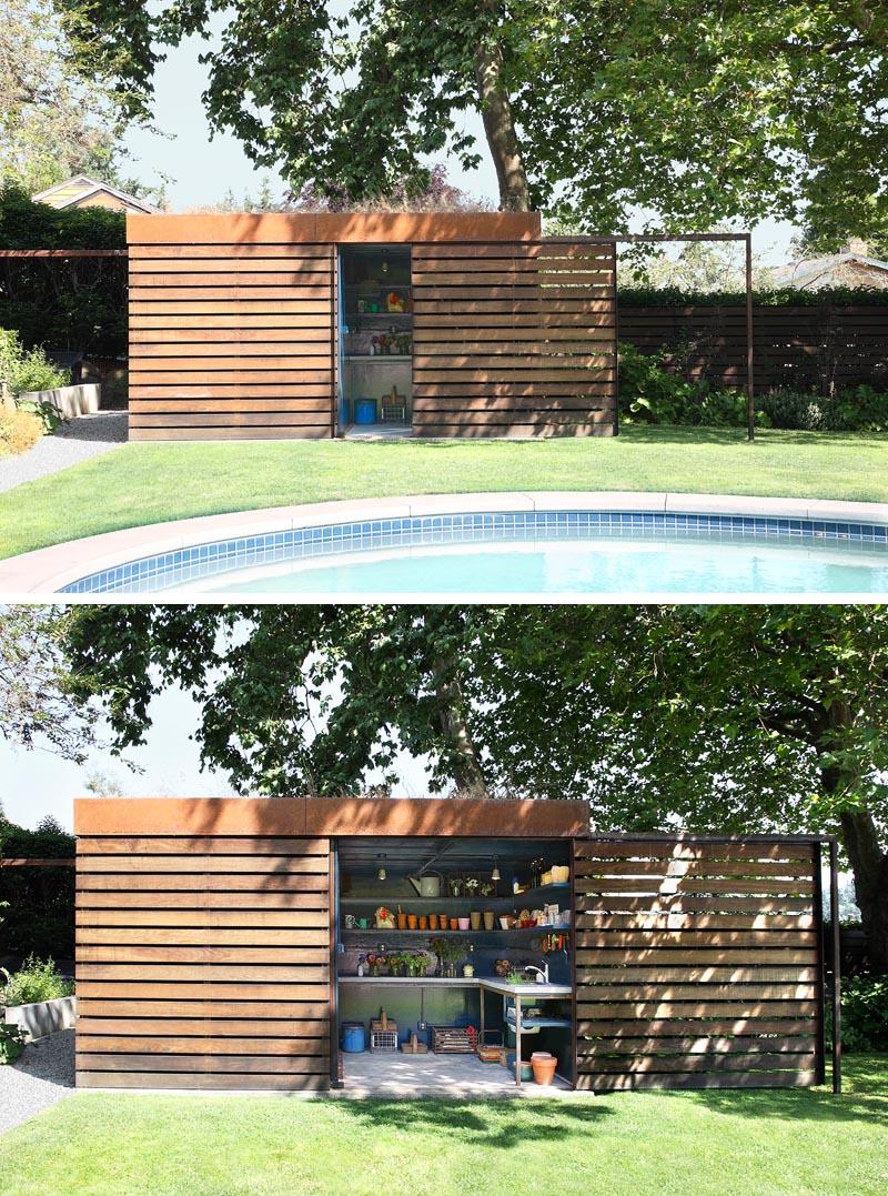 A modern backyard shed that hides a potting room behind a sliding door.