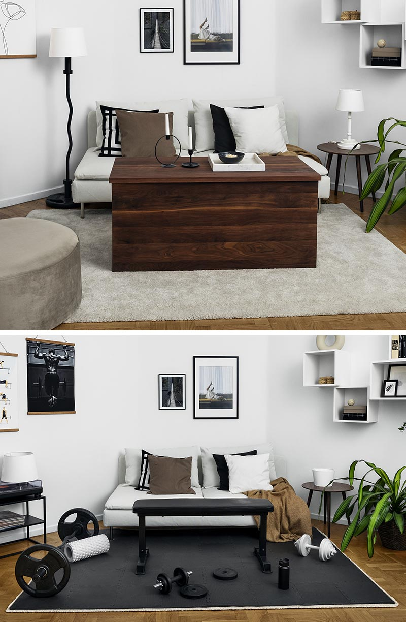 A walnut coffee table can be lifted to reveal a bench press, while a floor lamp transforms into a curl bar.