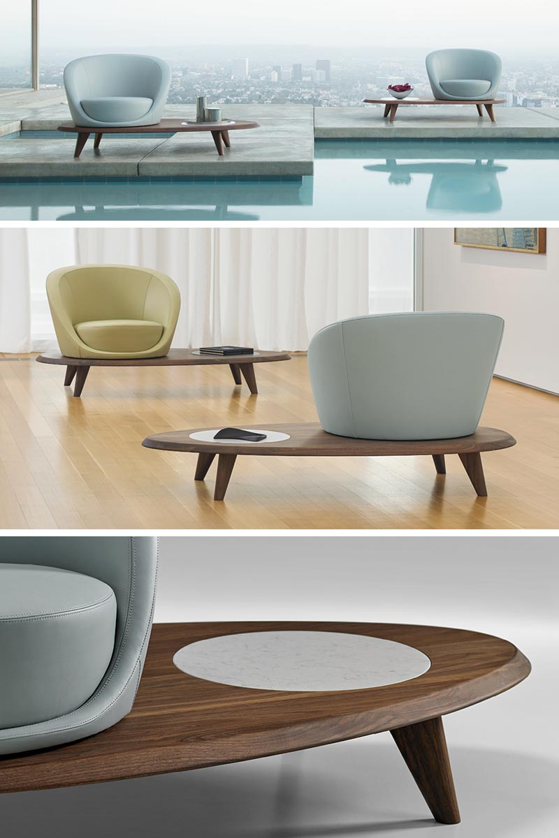 Terry Crews has designed Lilypad, a swivel armchair that rests on a platform of solid walnut.