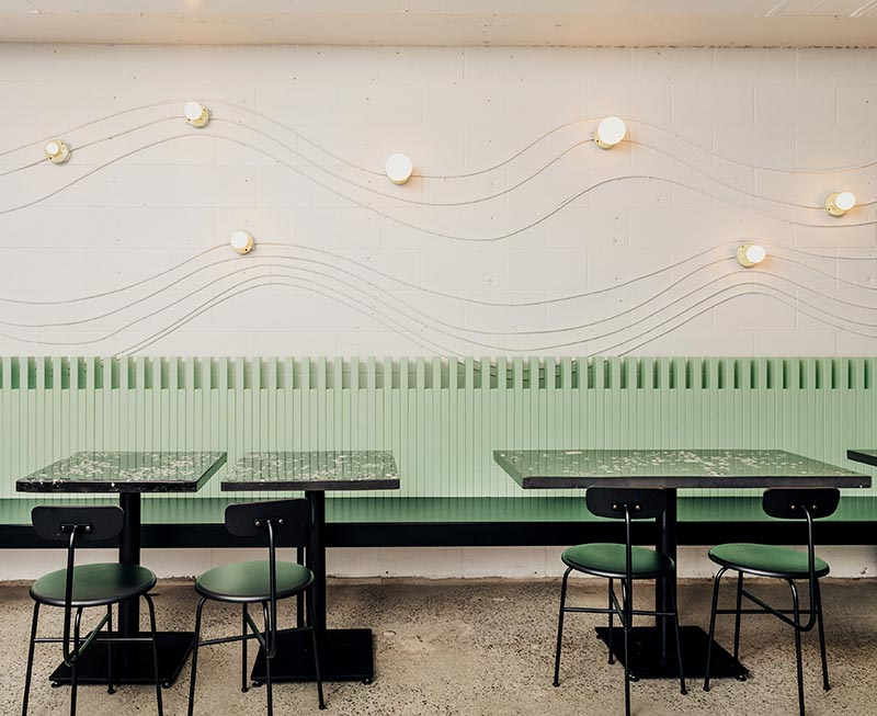 Wall Art Was Made From The Electrical Conduits And Lighting In This Restaurant