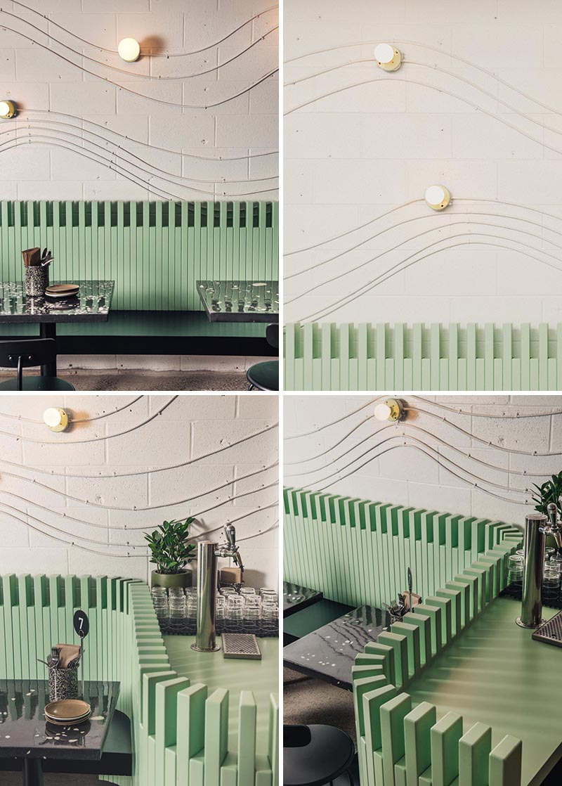 Electrical conduit and keyless lamp fixtures have been used to create attractive wall art that lightly traces the shape of a wave.