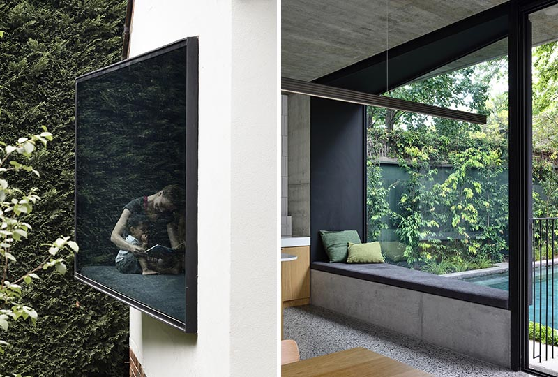 Wedge-Shaped Window Seats Offer A Place To Sit And Relax In This House