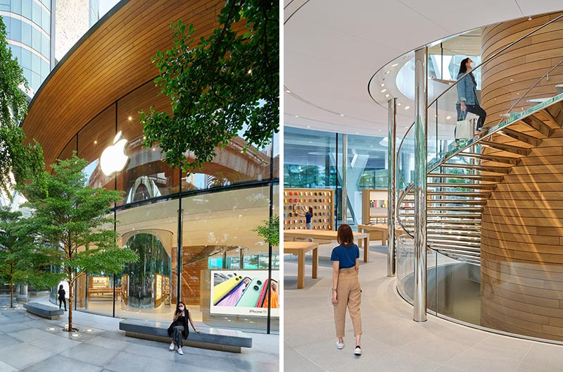 Apple Central World in Bangkok has a curved glass facade and a large wood canopy roof.