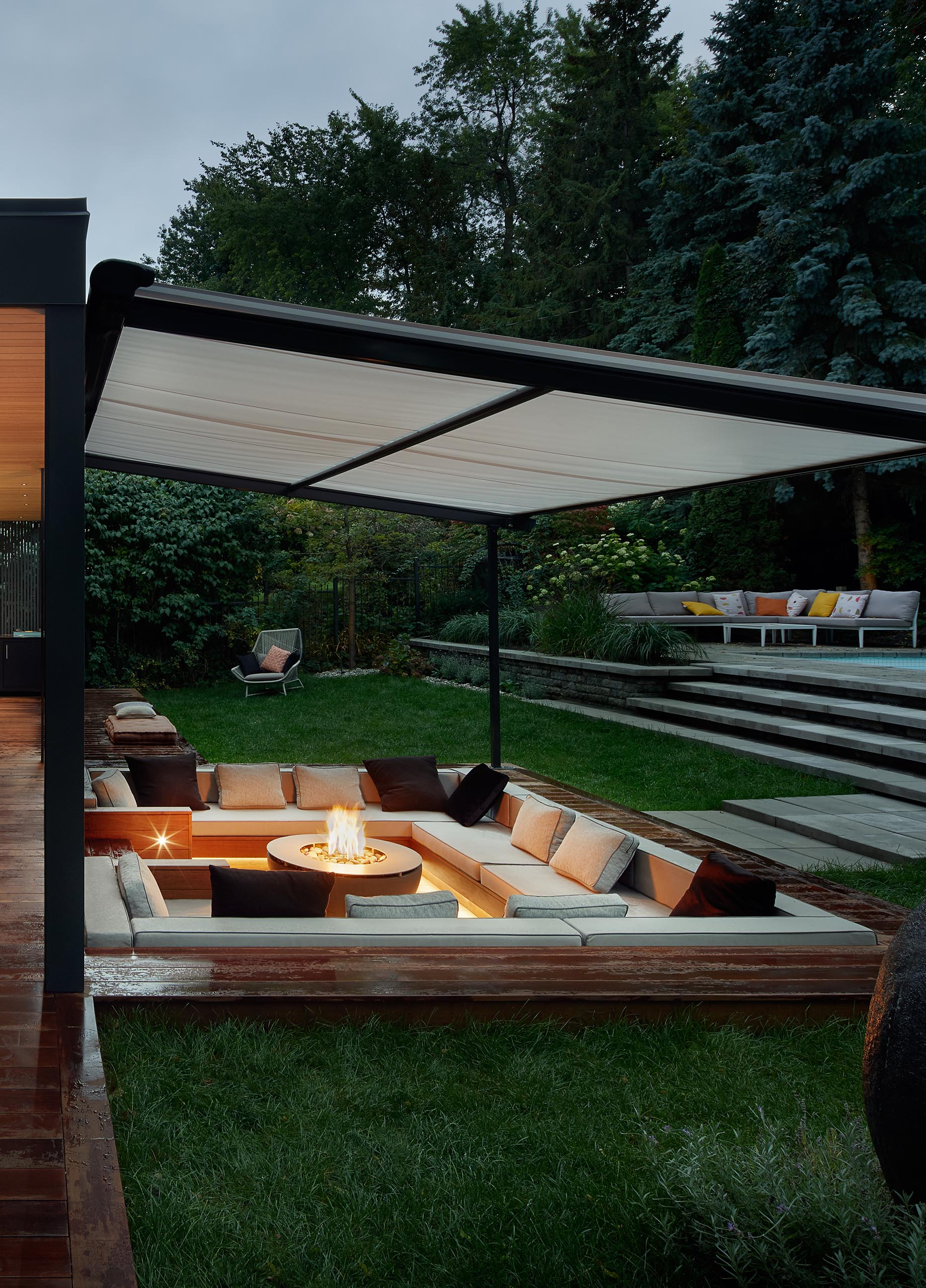 A covered sunken conversation pit.