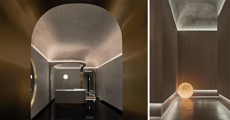 Indirect or hidden lighting showcases the curves on the ceiling of this massage parlor.