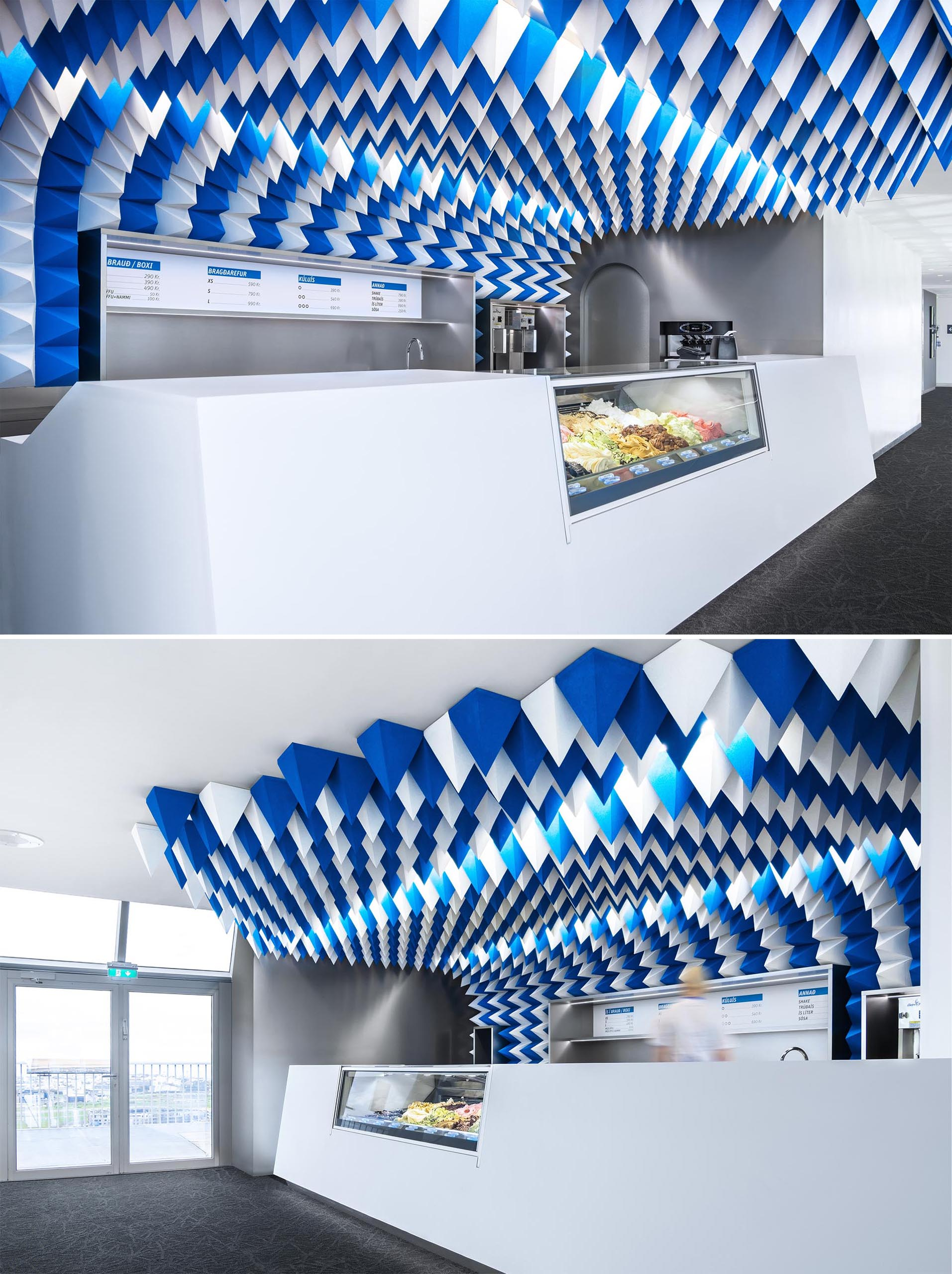 Blue and white foam pyramids were used to create a sculptural ceiling installation.