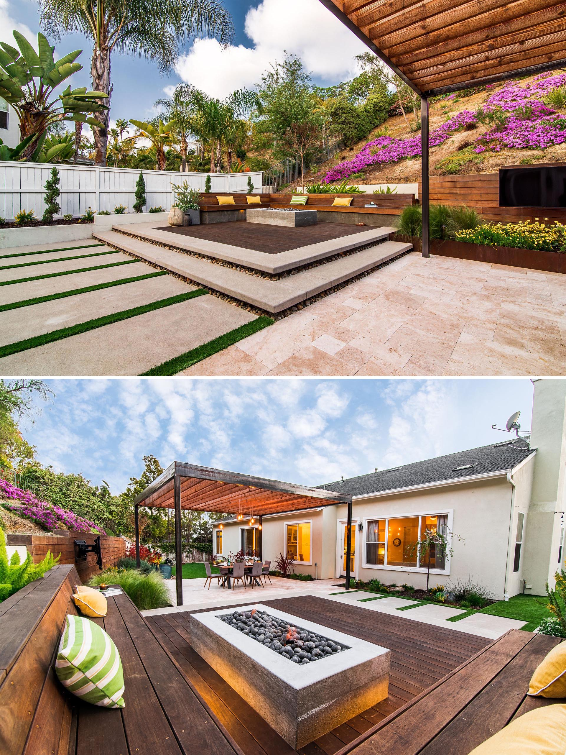 A modern yard with a raised seating area with a fire pit.