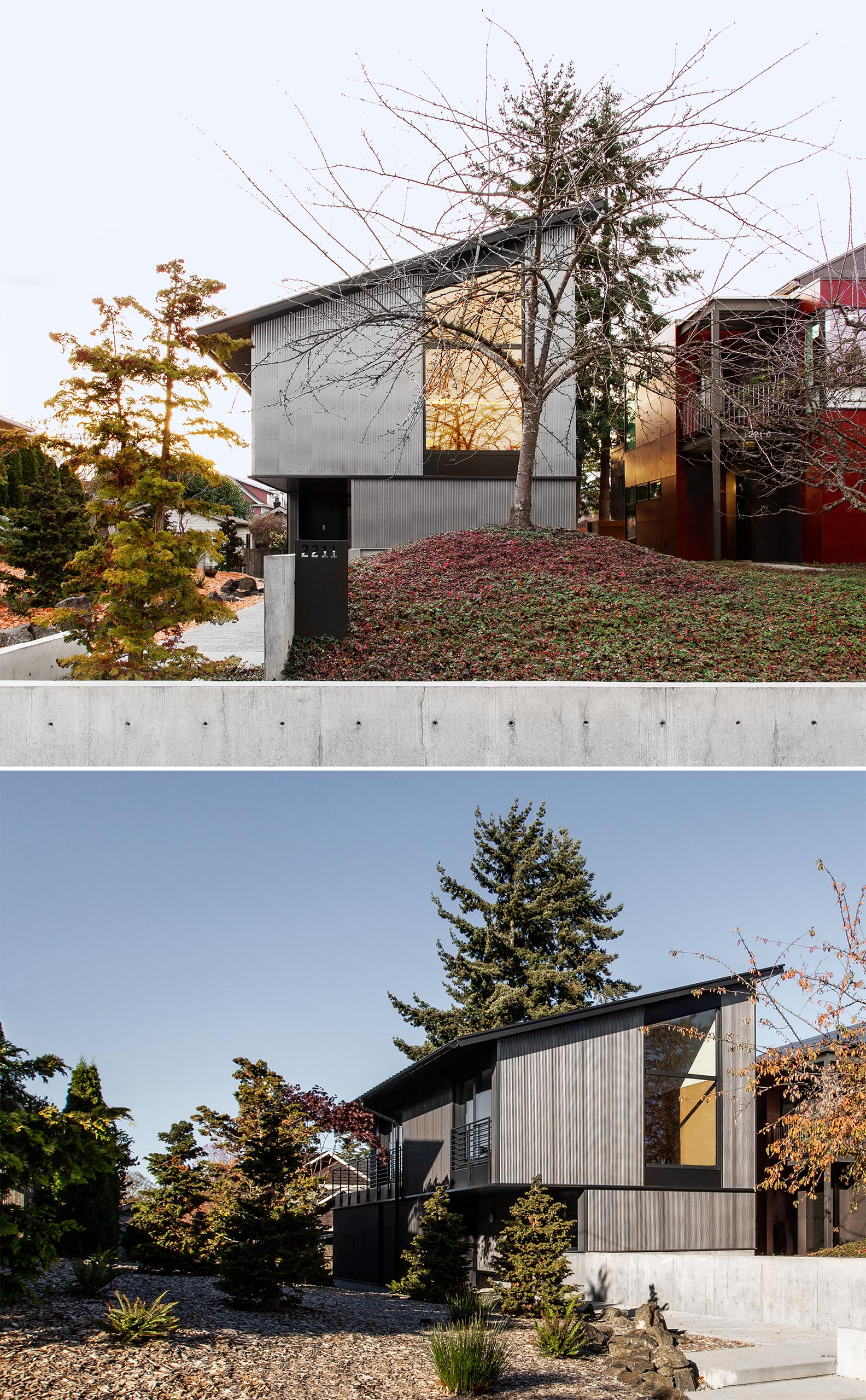 A modern house with corrugated metal siding, black accents, and a shed roof.