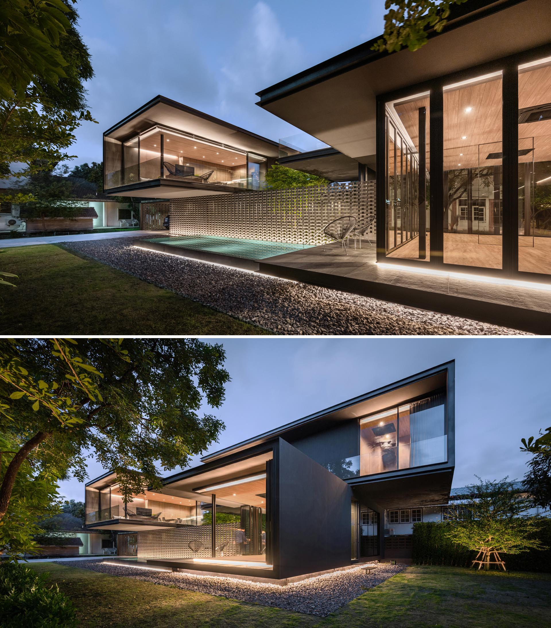Lighting has been used both on the exterior and interior of this modern house.