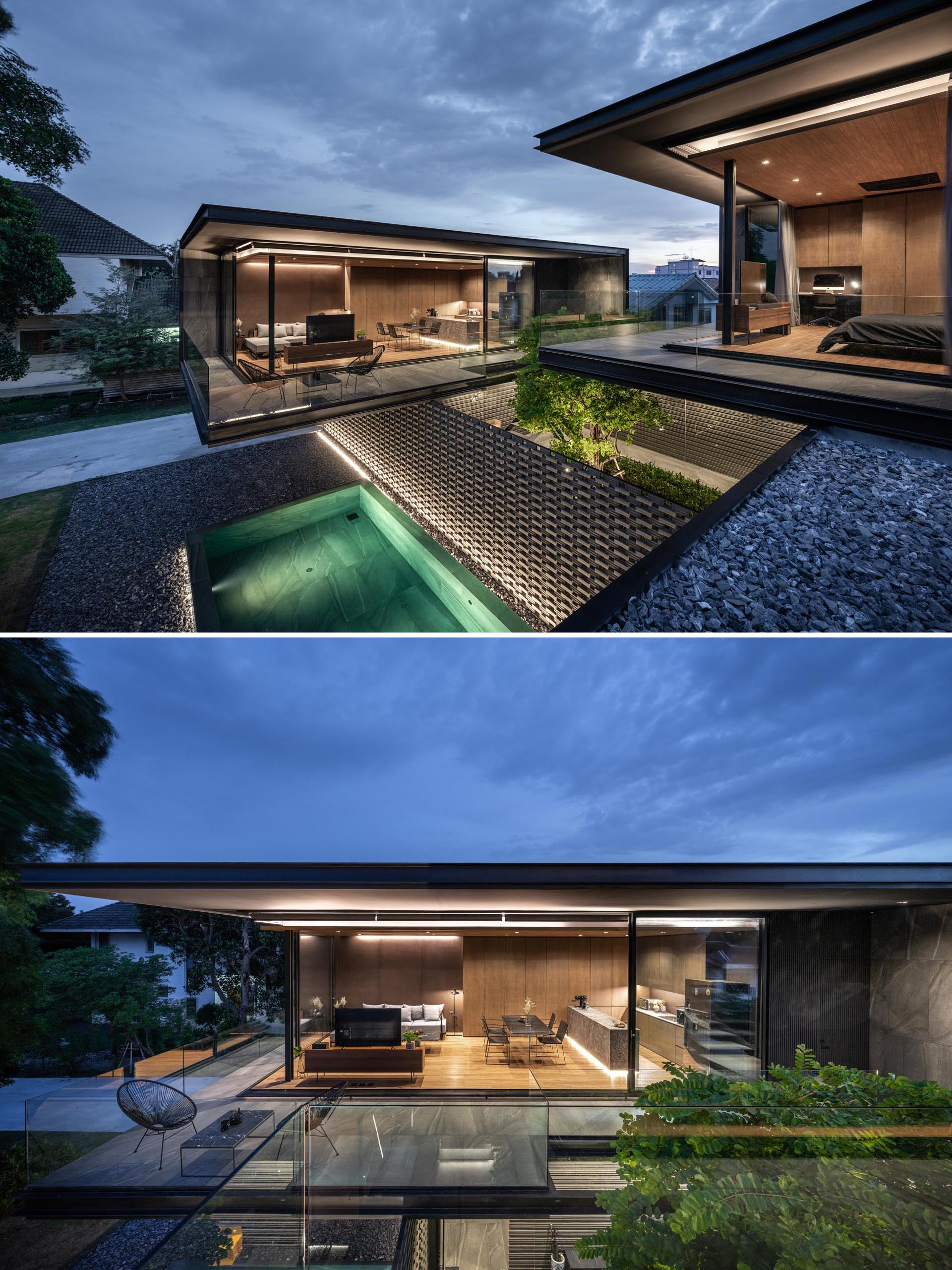 Indirect lighting has been used to highlight the lines of this modern house.
