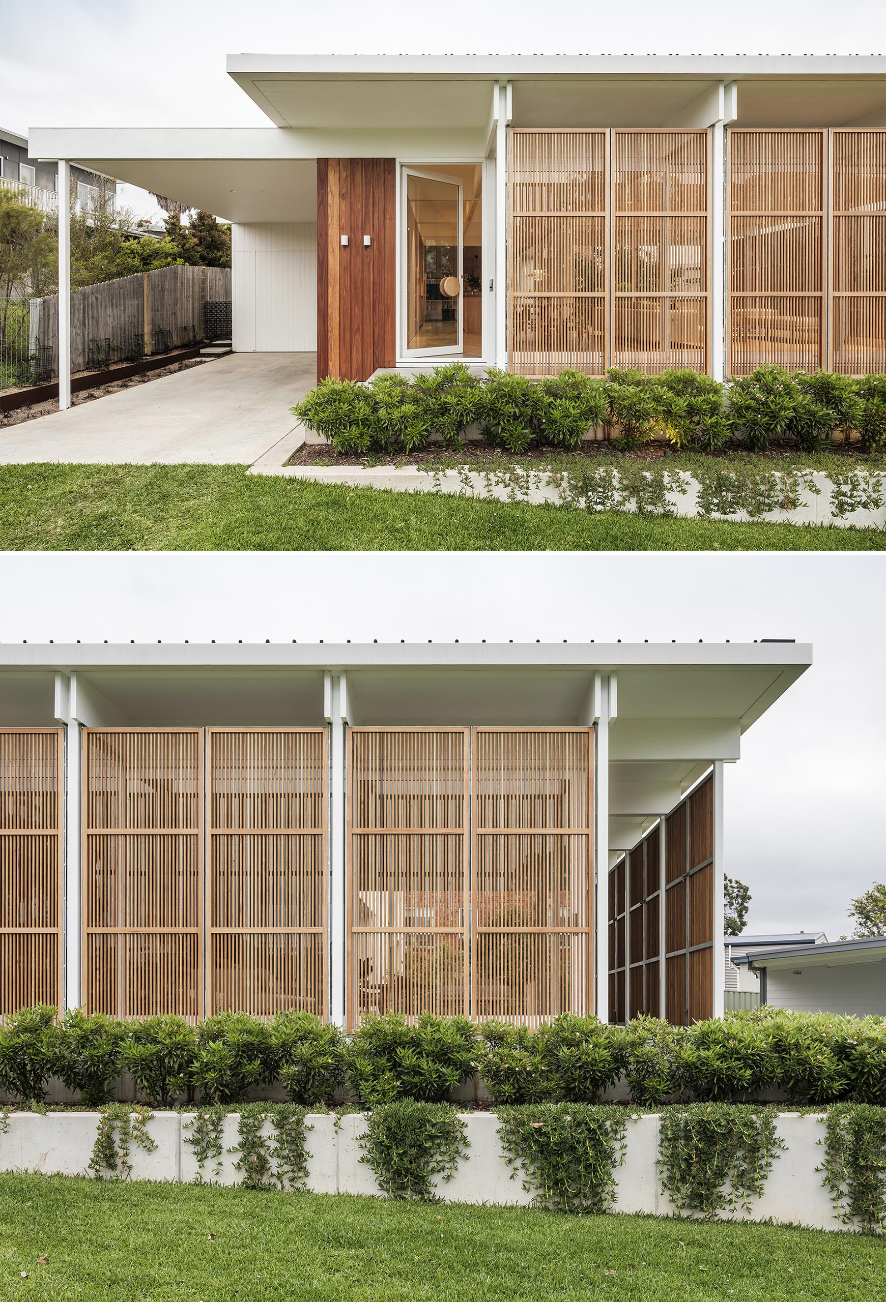 Operable wood screens close this house off from the elements.
