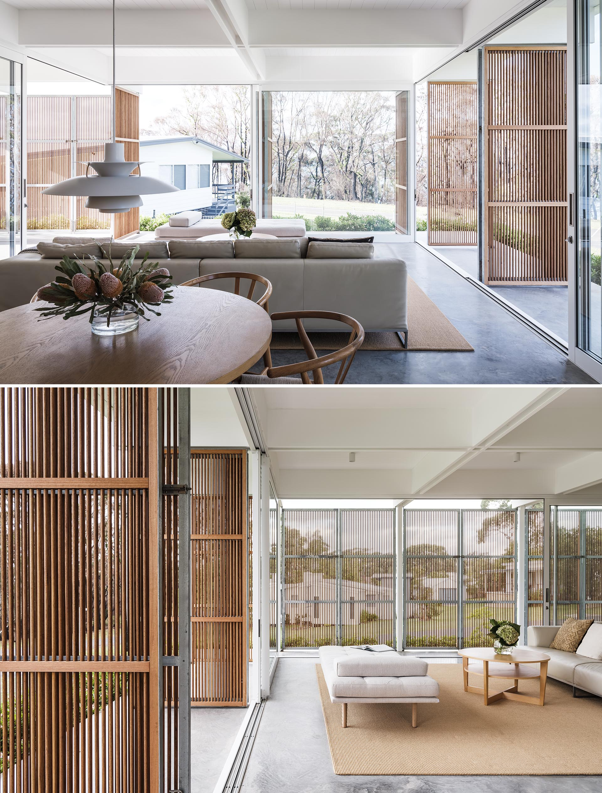 Vertical wood screens can be opened to create a casual living environment.