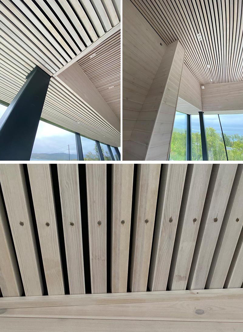 A modern ceiling made from wood slats.
