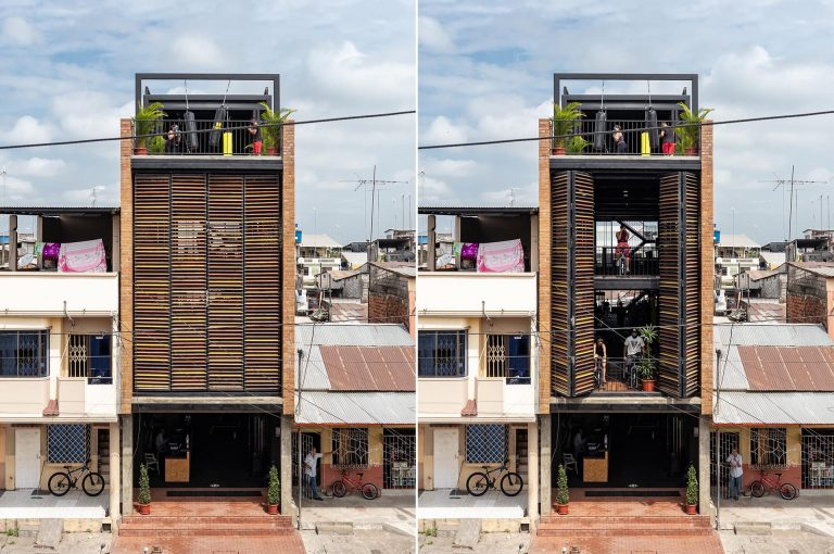 Extra-Large Window Screens Protect This Building From Rain And Sun