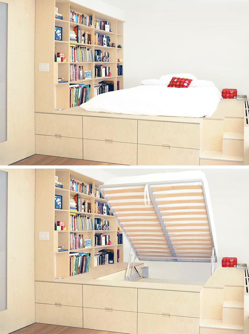 A platform bed was built for this small bedroom that has storage underneath it and around it.