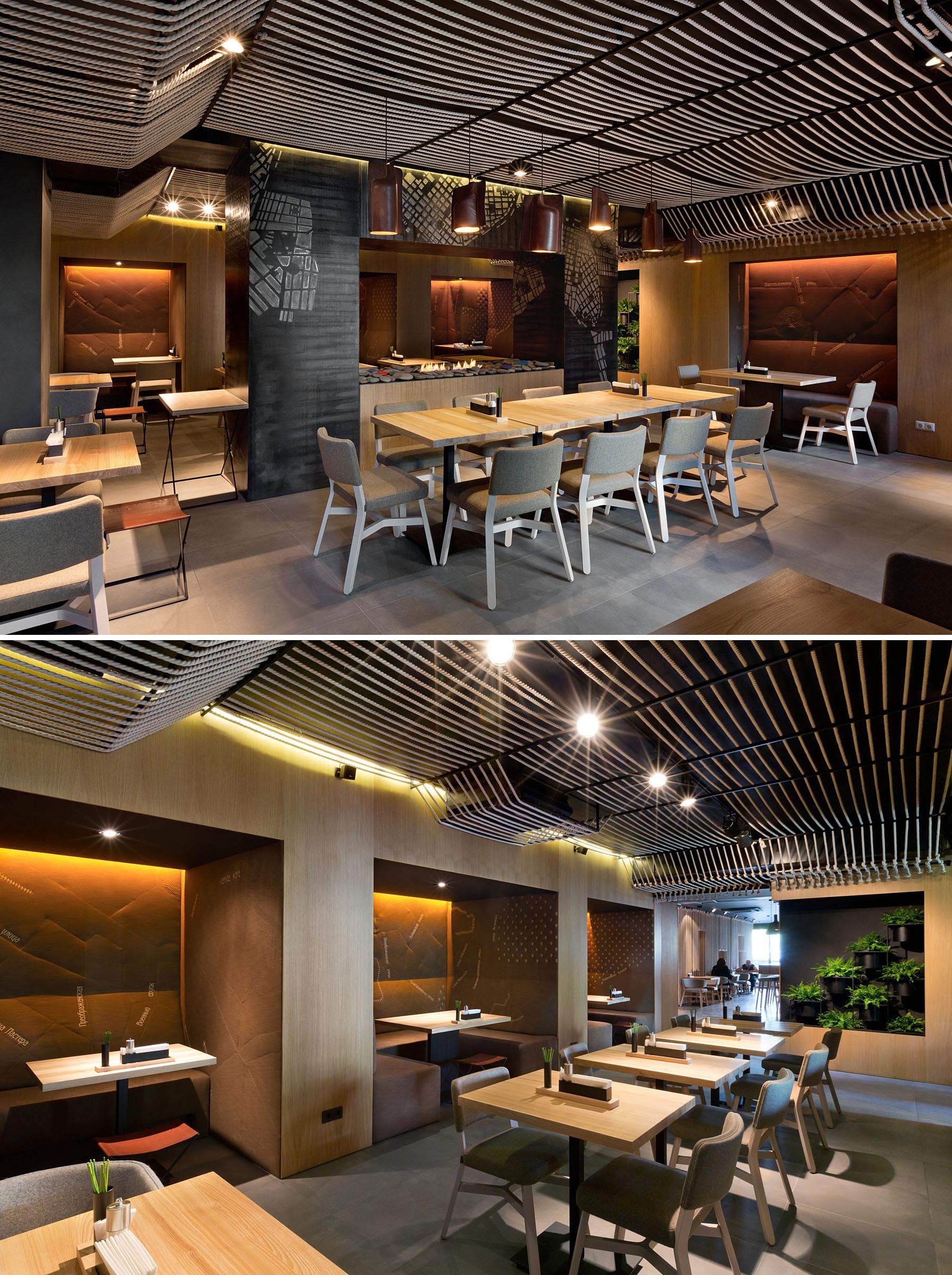 A modern restaurant with a rope ceiling installation.