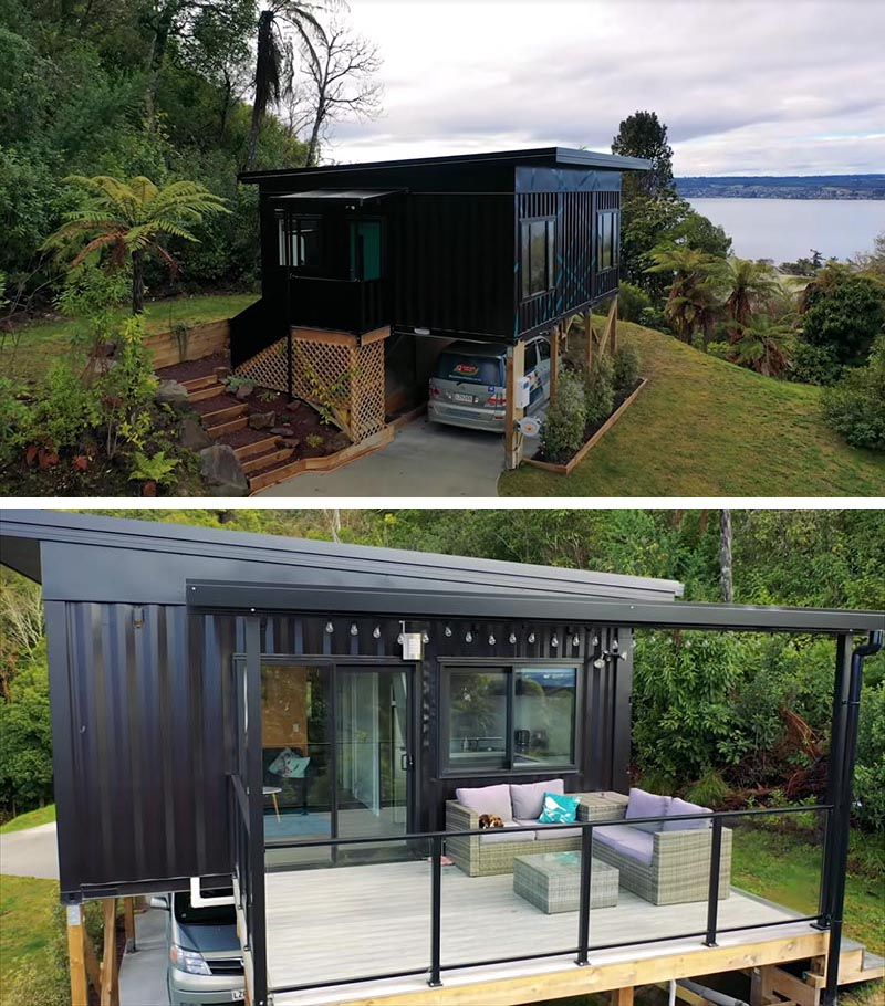 A small house constructed from three shipping containers.