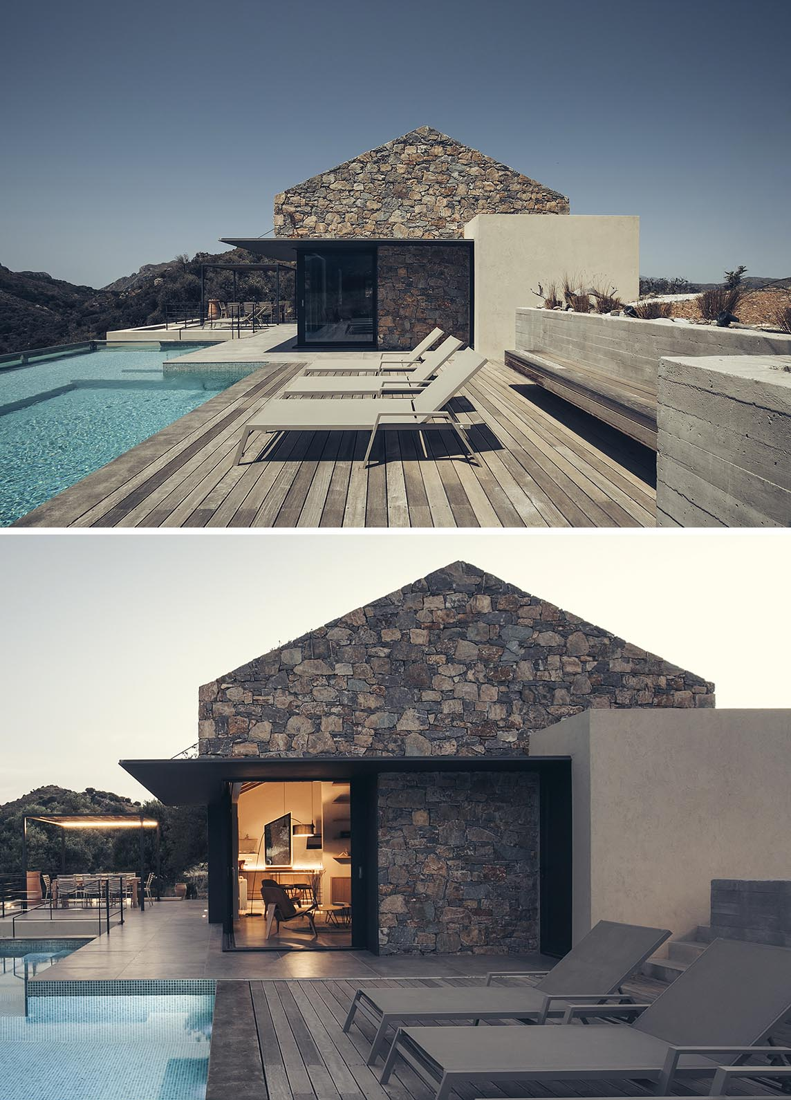Black metal accents add a contrasting element to a contemporary summer house on the island of Crete.