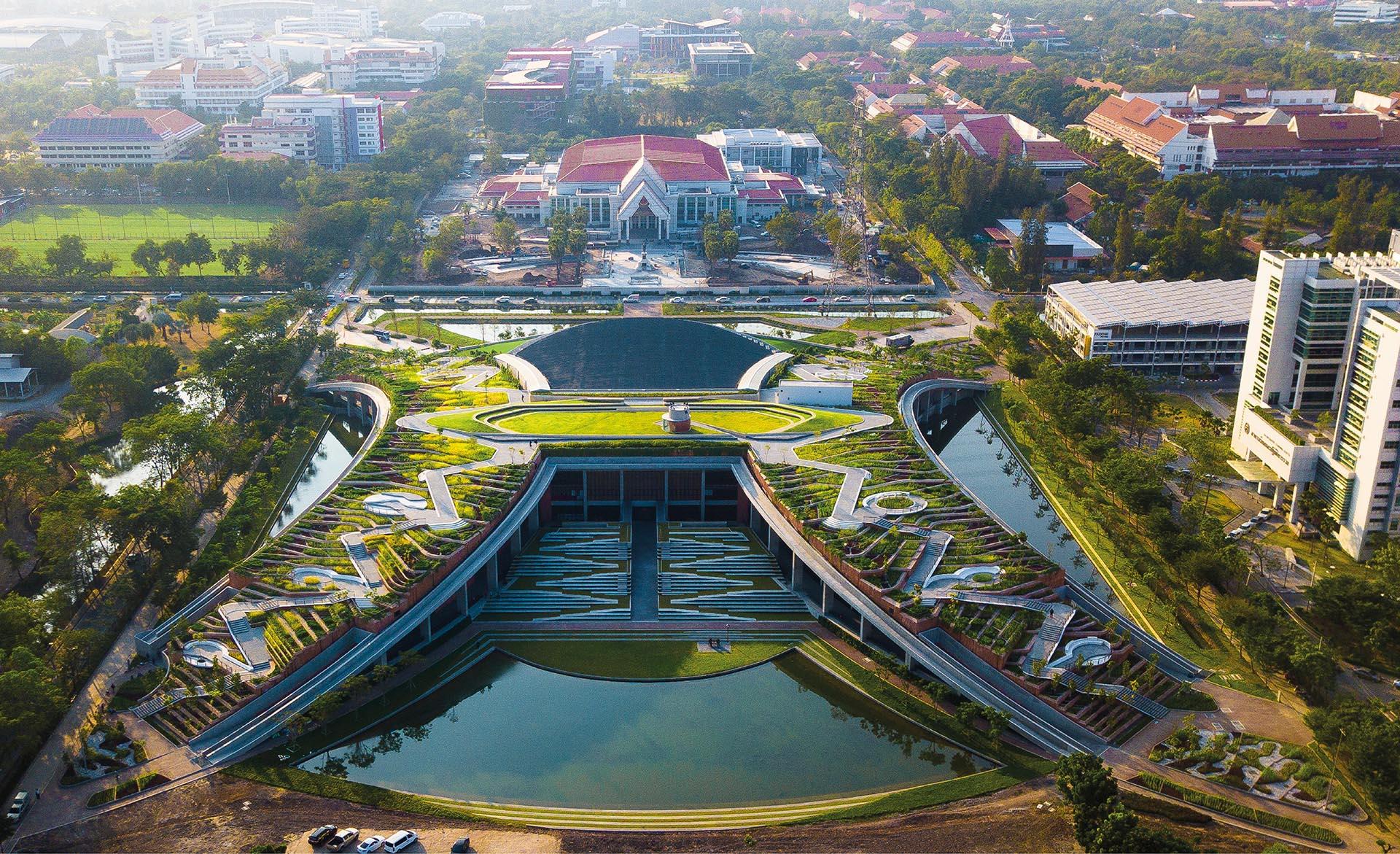 A terraced rooftop landscape design creates an urban farm in Thailand.