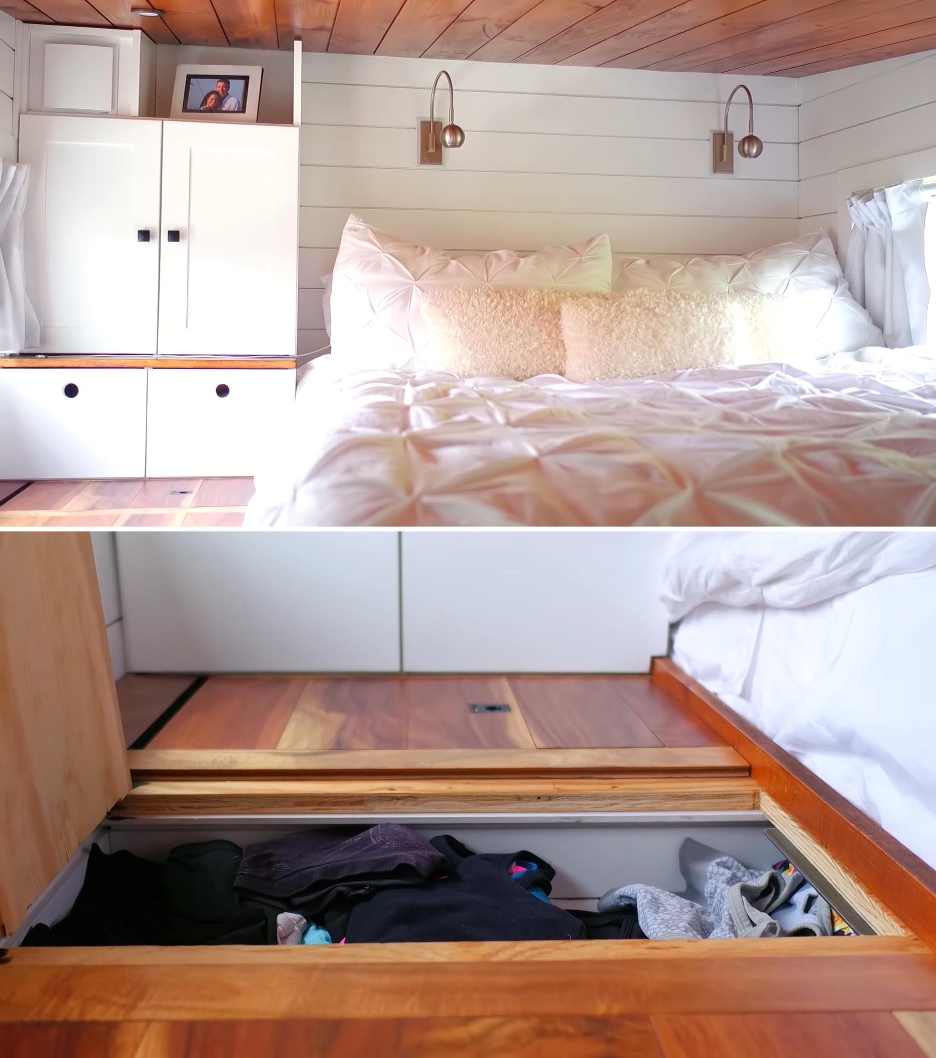 A tiny house loft bedroom with in-floor storage.