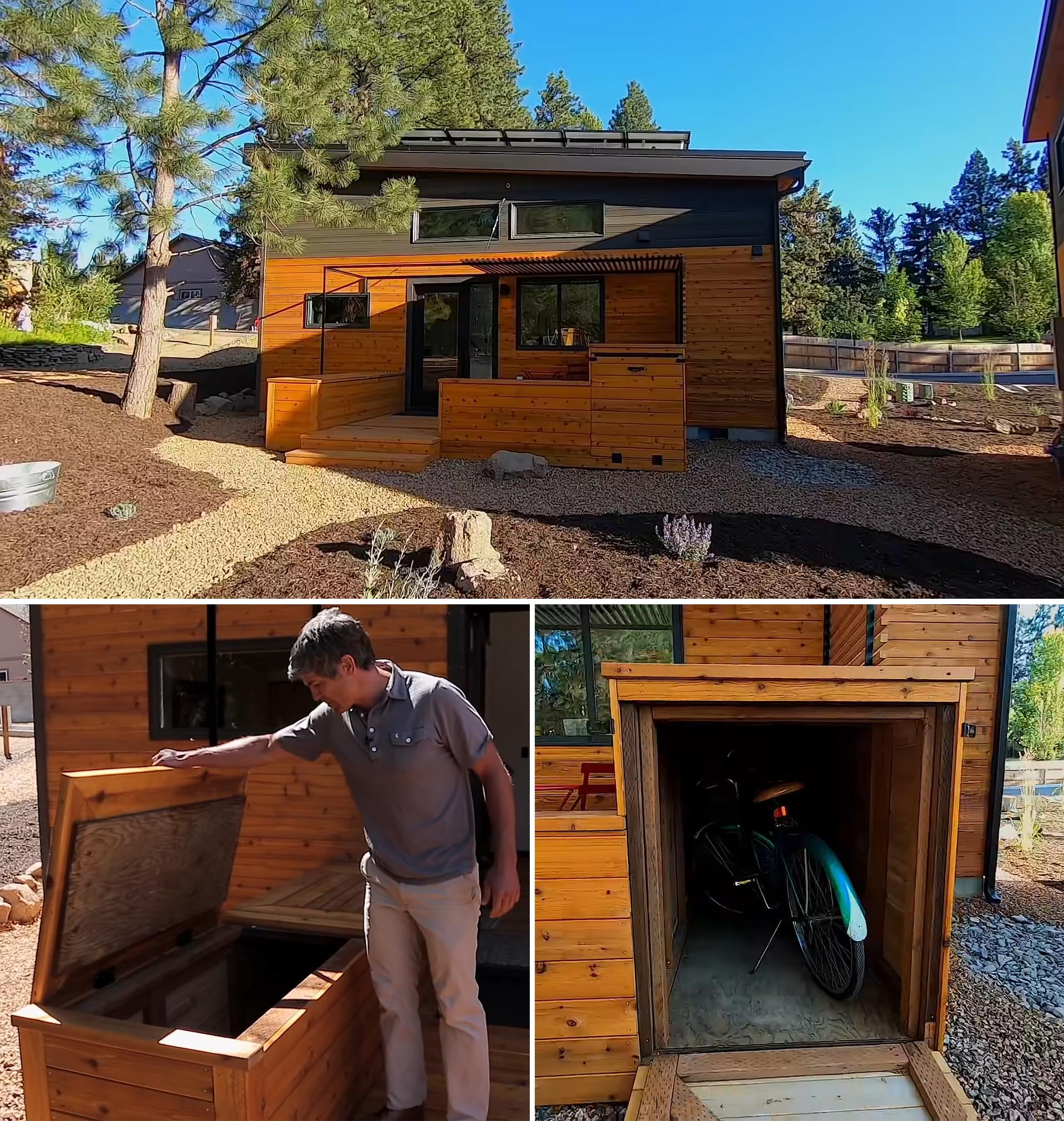 A modern wood clad tiny house with a deck, pergola, and storage boxes.