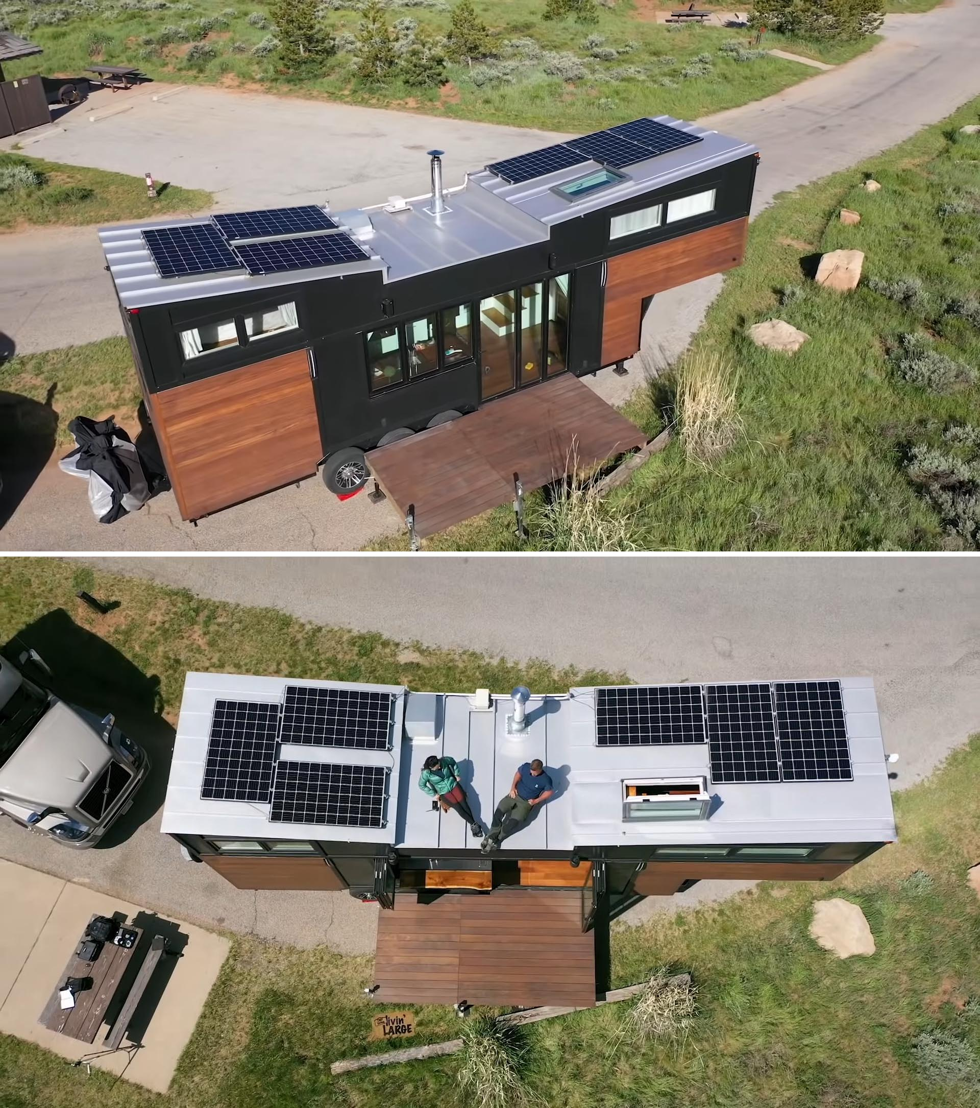 A high-end tiny house with solar panels and a removable deck.