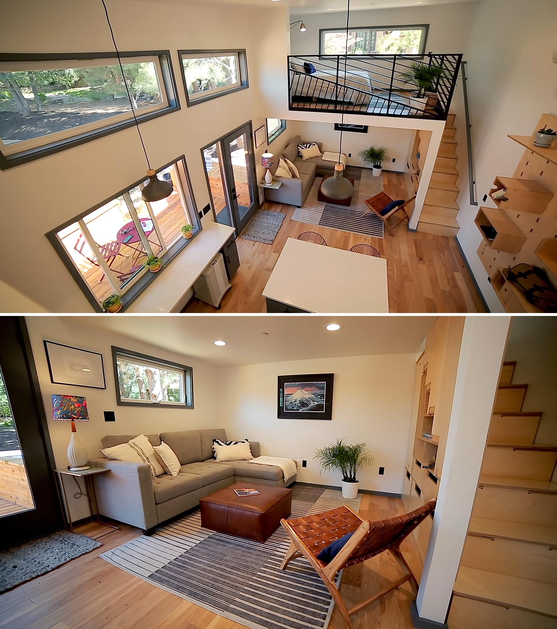 A tiny house with a main floor living room and kitchen, and a lofted bedroom.
