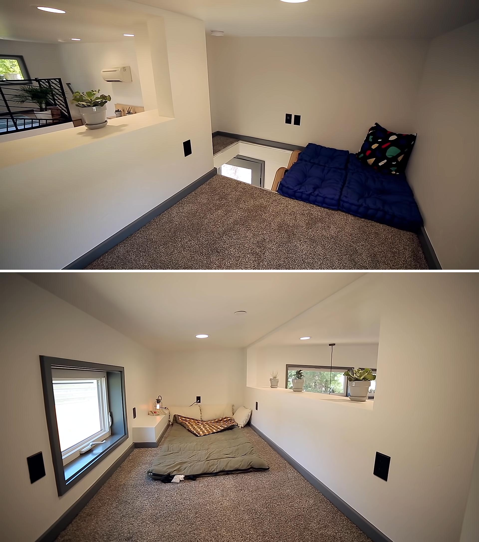 A lofted sleeping area in a tiny house that can be used as a home office or reading nook.