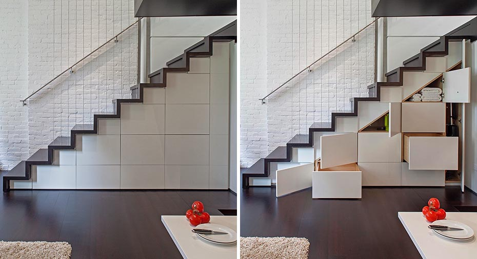 Under stair cabinets and drawers were added to create storage in a micro-loft.