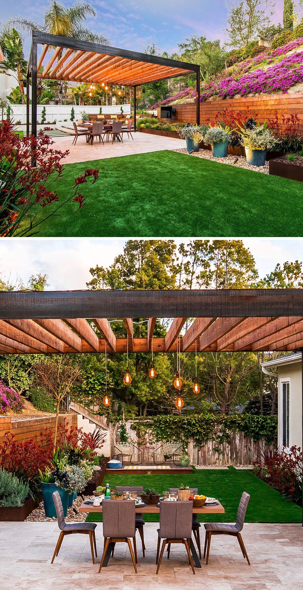 A modern yard with an alfresco dining area located underneath a steel and cedar wood pergola with travertine pavers.