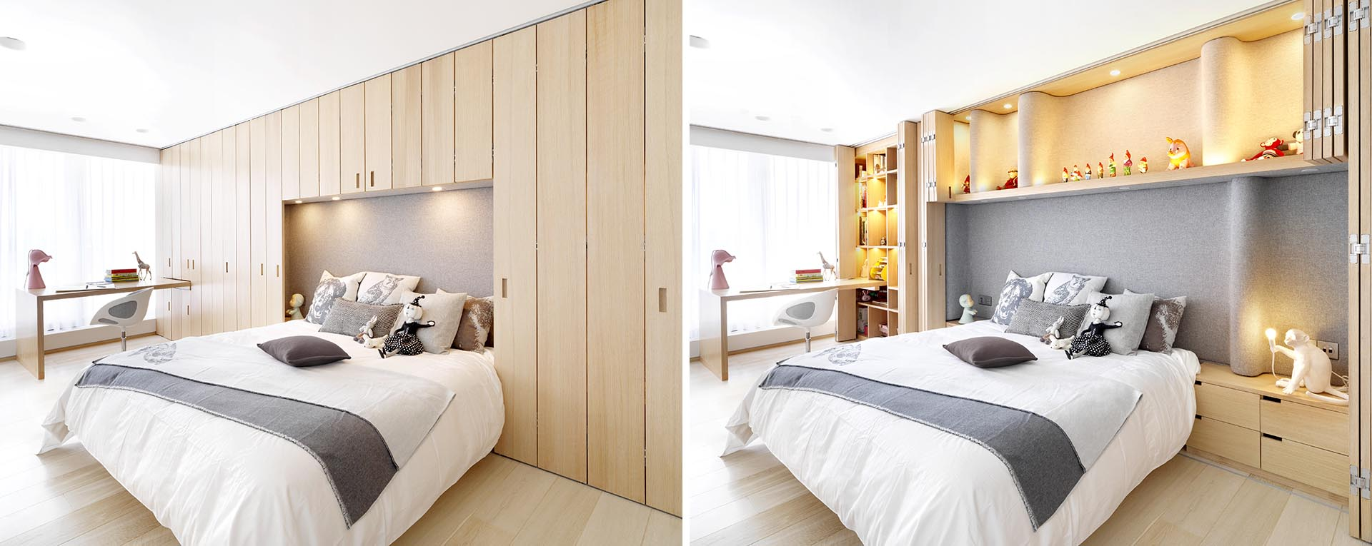 Folding Wood Doors Hide Plenty Of Built-In Storage In This Apartment