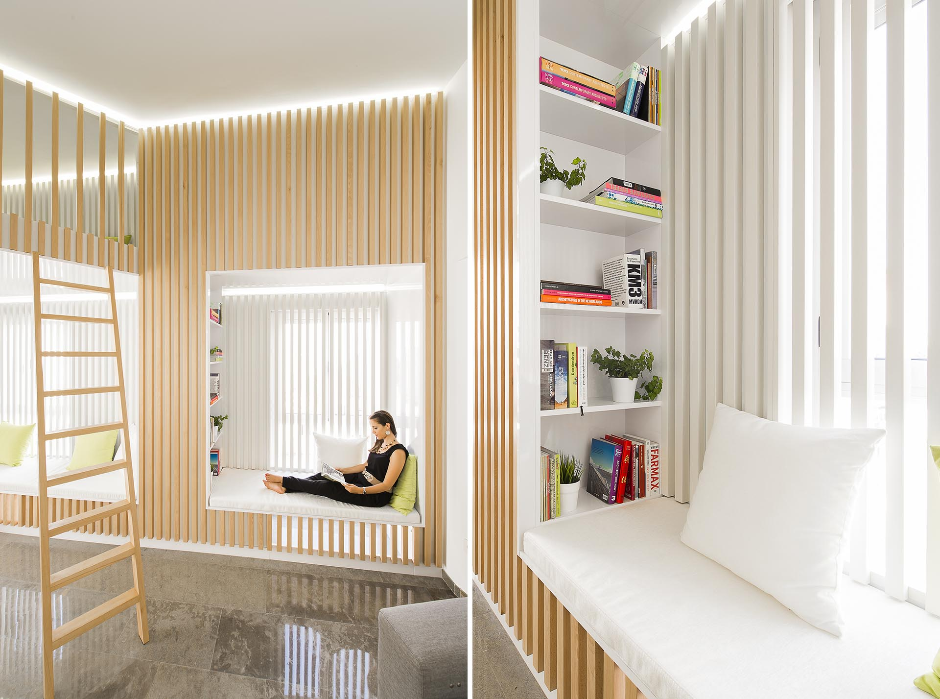 A window seat with a bookshelf that are surrounded by wood slats.