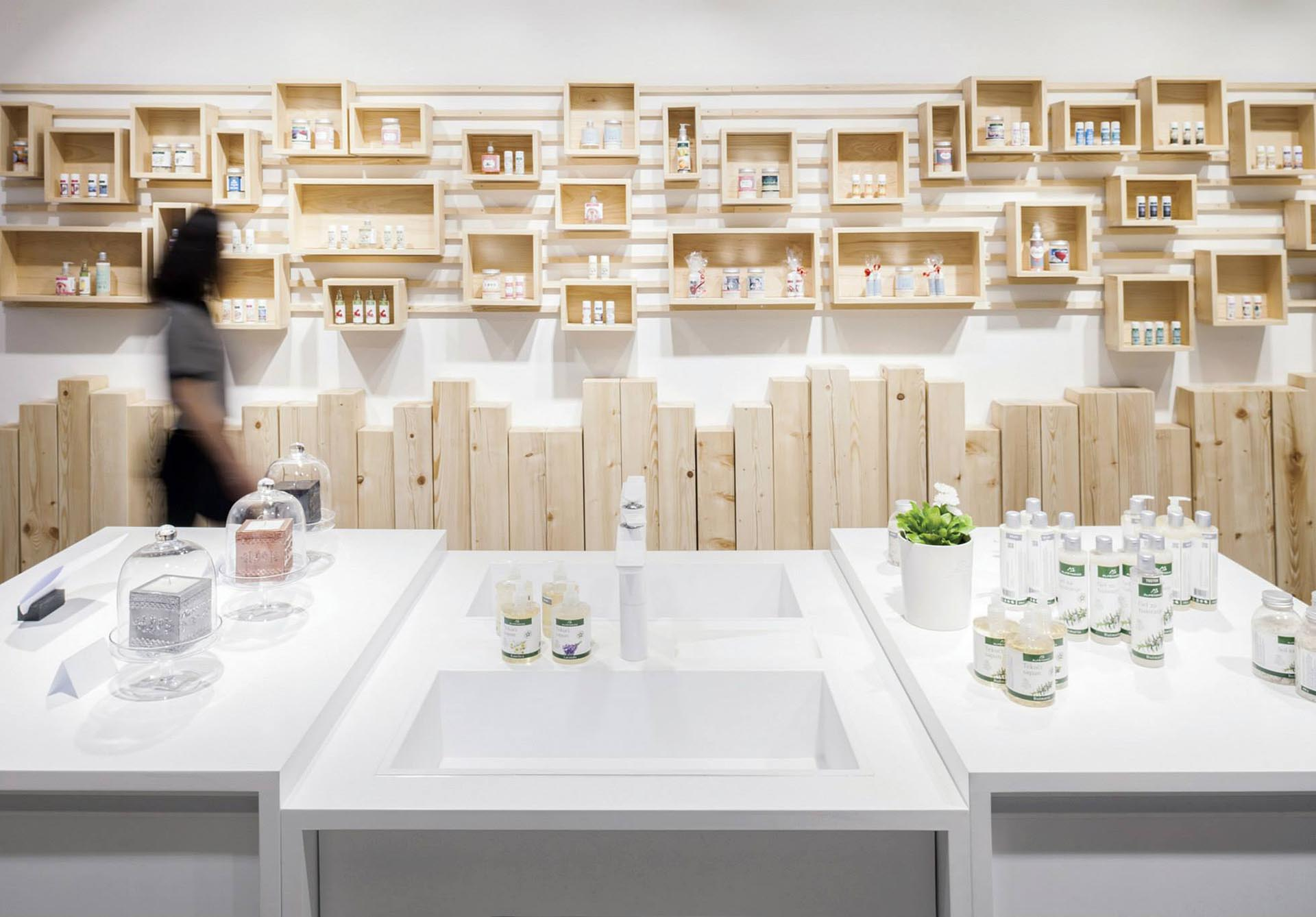 A french cleat shelving system was created for a retail store.