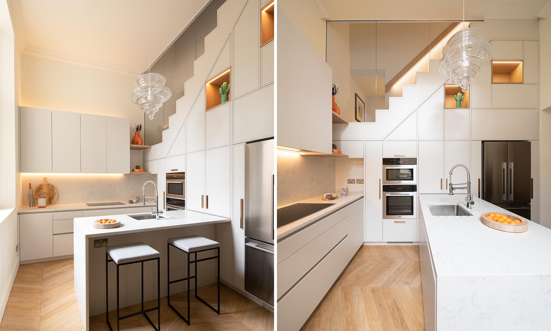 This White Kitchen Has A Variety Of Clever Storage Solutions