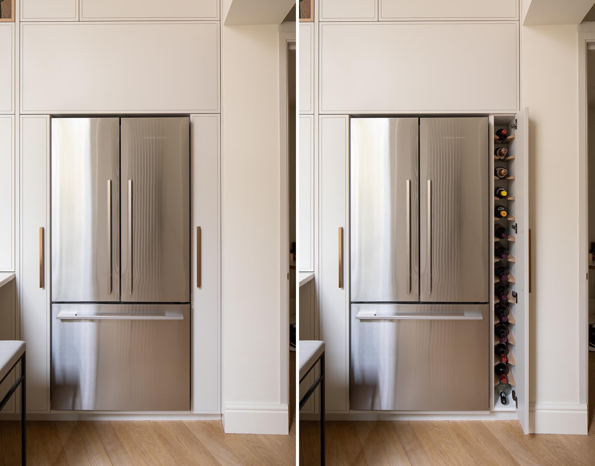Tall skinny cabinets on either side of the fridge act as wine storage and as a pull-out larder.