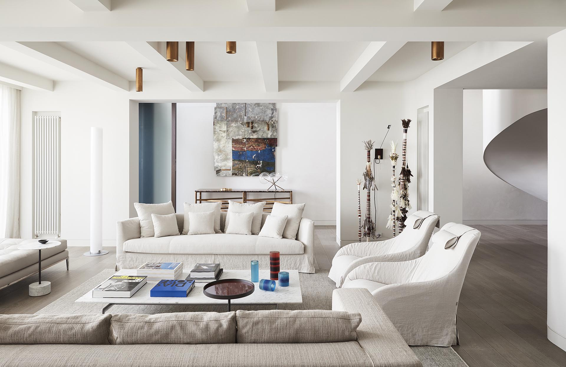 A modern yet casual living room.
