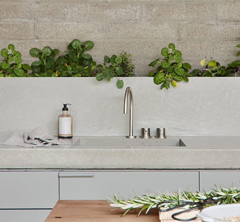 A Row Of Plants Along The Backsplash Adds A Green Touch To This Kitchen