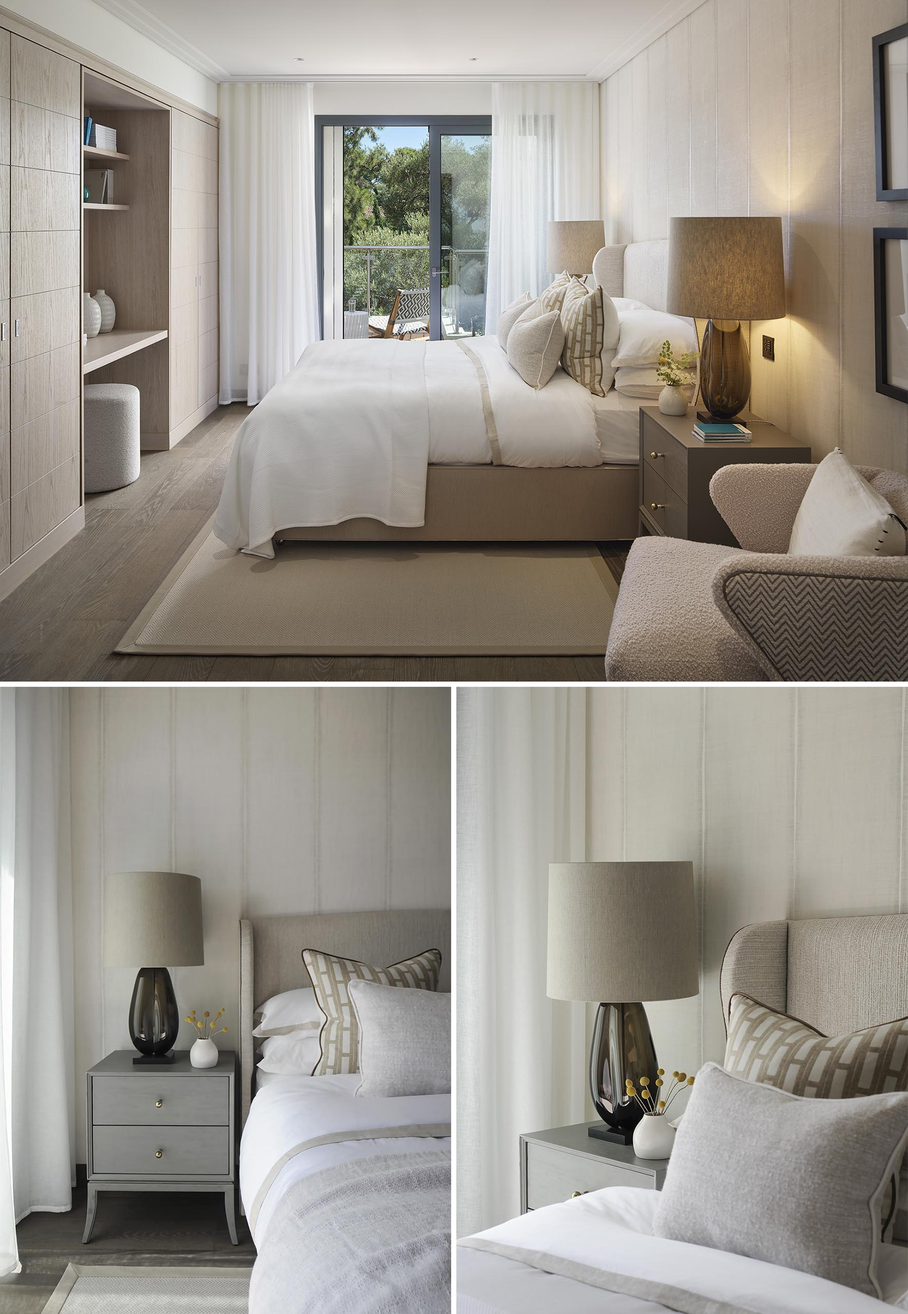 A bedroom with a neutral color palette.